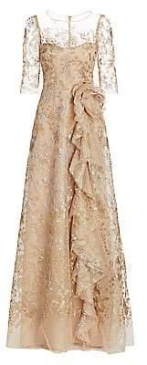 Teri Jon by Rickie Freeman Women's Metallic Floral Illusion Tulle Side Ruffle A-Line Gown