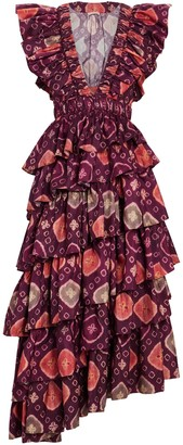 Ulla Johnson Viola Printed Ruffled Midi Dress
