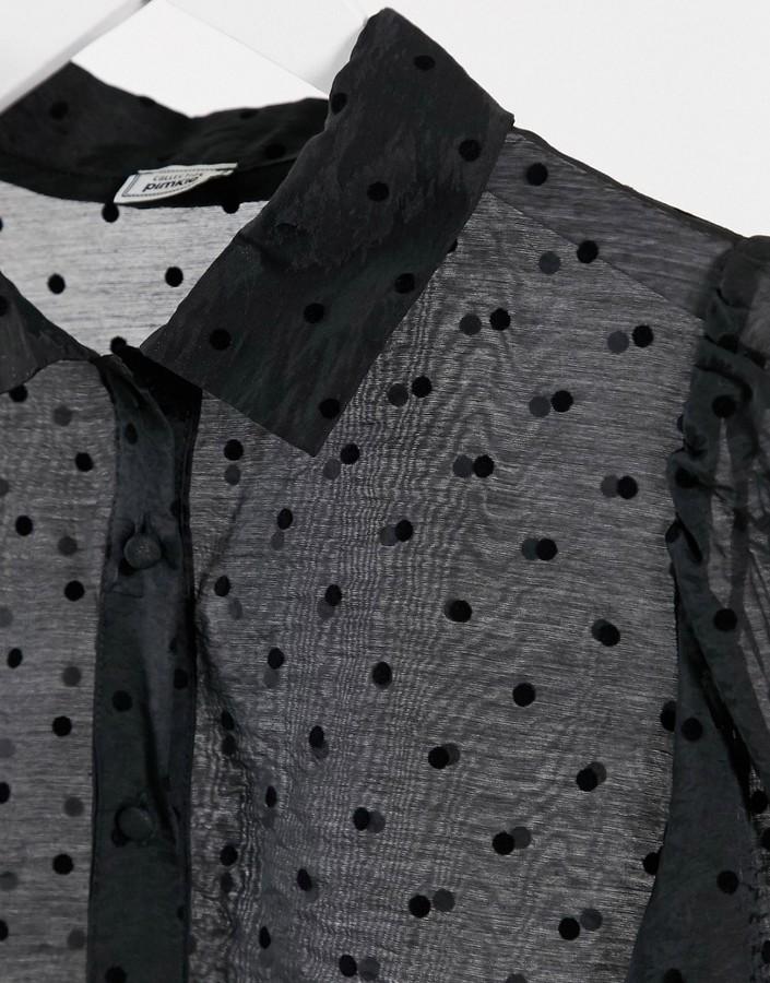 Thumbnail for your product : Pimkie velvet spot printed shirt in black