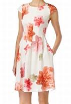 Calvin Klein White Women's Size 14 Sheath Floral Print Dress