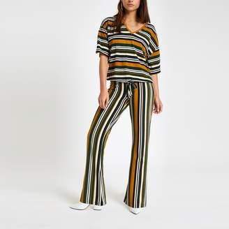 River Island Womens Petite Green stripe jersey top