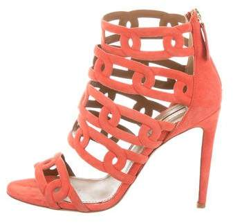 Aquazzura Caged Suede Sandals
