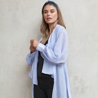 Jovonna London Blue Storm High Low Wrap Blouse - small/medium