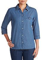 Allison Daley Petite Y-Neck Dot Print Button Front Denim Shirt