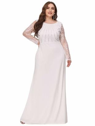 Ever Pretty Ever-Pretty Women's Elegant Sheer Long Sleeve Floor Length Mermaid Plus Size Bridesmaid Dresses Black 16UK