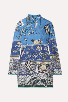 F.R.S For Restless Sleepers Menezio Printed Satin-jacquard Mini Dress - Blue