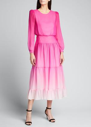Saloni Isabel Silk Tiered Long-Sleeve Dress