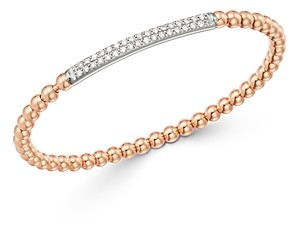 Bloomingdale's Diamond Bar Beaded Stretch Bracelet in 14K Rose Gold & 14K White Gold, 0.50 ct. tw. - 100% Exclusive