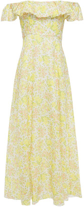 Zimmermann Off-the-shoulder Ruffled Floral-print Linen Maxi Dress
