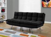 Monarch Specialties I 8990 Split Back Click Clack Black Micro Suede Futon