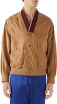 Gucci Men's Leather Cardigan Jacket w/ Signature Stripes