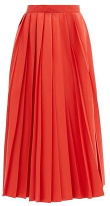 MSGM Pleated Faux-leather Midi Skirt - Red