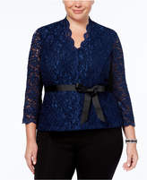 Alex Evenings Plus Size Belted Glitter Lace Blouse