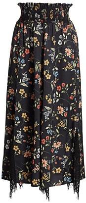 ML Monique Lhuillier Floral Smock-Waist A-Line Midi Skirt