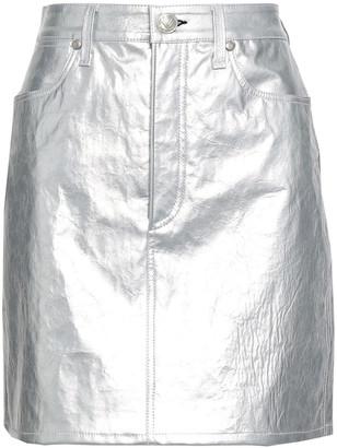 Rag & Bone Metallic Cracked-leather Mini Skirt