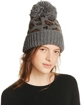 Genie by Eugenia Kim Logan Leopard Knit Slouchy Pom-Pom Hat