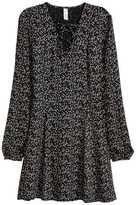 H&M Dress with Lacing - Black/small floral - Ladies