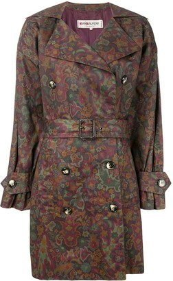 Yves Saint Laurent Pre Owned Floral Print Trench Coat