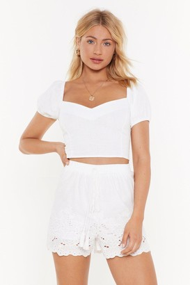 Nasty Gal Womens You're Sew Vain Broderie Anglaise Shorts - white - M/L