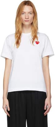Comme des Garcons White Mens Fit Heart Patch T-Shirt