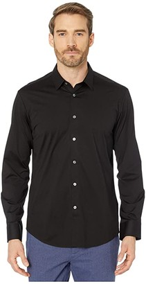 Bugatchi Zanobi Long Sleeve Button-Down with Bonded Seams - French Placket (Black) Men's Clothing