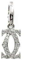 Cartier 18K White Gold Diamonds Double C Pendant Charm Enhancer