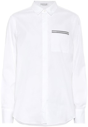 Brunello Cucinelli Embellished stretch-poplin shirt