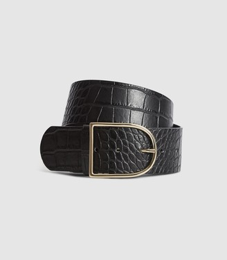 Reiss Isabelle - Leather Croc Patterned Waist Belt in Black