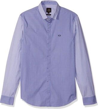 Ax Armani Exchange A|X Armani Exchange Men's Long Sleeve Button Down Dress Shirt