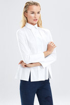 Josie Natori Cotton Shirting Long Sleeve Top