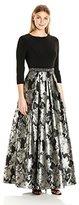 Alex Evenings Women's Long A-Line Mock Dress with Printed Skirt and Beaded Waist Detail