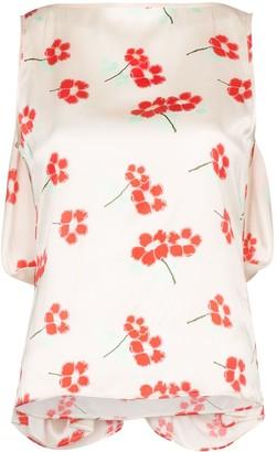 Bernadette draped floral blouse