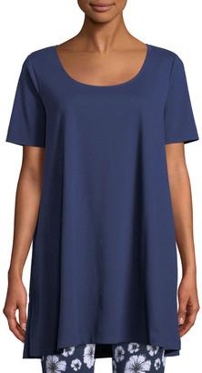 Joan Vass Petite Short-Sleeve Scoop-Neck Tunic