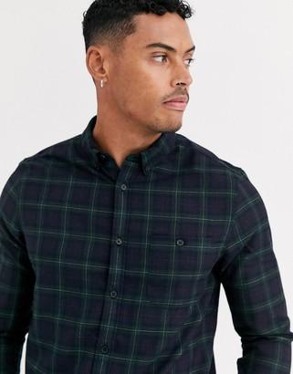 Burton Menswear long sleeve check shirt in green