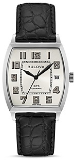 Bulova Limited Edition Joseph Banker Black Alligator-Embossed Leather Strap Watch, 33mm x 33.5mm