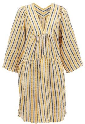Three Graces London Stella Striped Cotton-blend Seersucker Dress - Yellow Multi