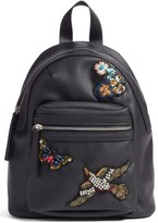Hannah Banana Girl's Faux Leather Jewel Patch Backpack - Black