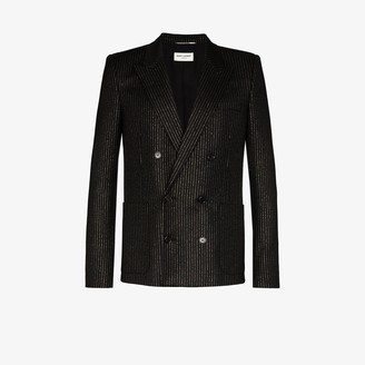 Saint Laurent Pinstripe Silk And Wool Blend Double-Breasted Blazer
