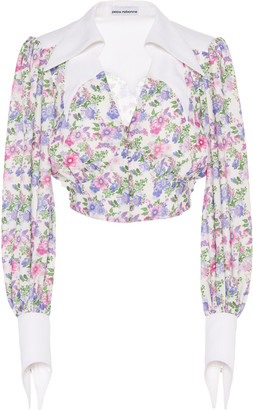Paco Rabanne Western Floral-Print Twill Blouse