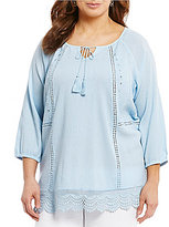 Intro Plus 3/4 Sleeve Lace-Up Neck Peasant Top
