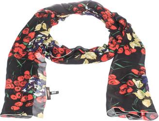 Roberto Cavalli Black Shimmer Floral Print Silk Stole