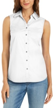 Charter Club Petite Sleeveless Button-Up Shirt, Created for Macy's