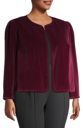 Lafayette 148 New York, Plus Size Scarlet Velvet Jacket