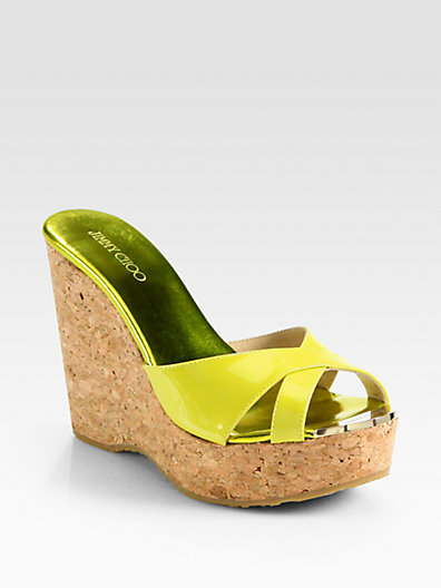 Jimmy Choo Perfume Patent Leather Cork Wedge Sandals