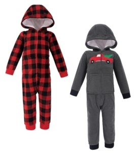 Hudson Baby Baby Toddler Girls and Boys Christmas Tree Fleece Jumpsuits, Coveralls and Playsuits, Pack of 2