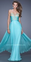 La Femme Embroidered Sweetheart Open Back Prom Dress