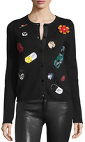 Alice + Olivia Cecila Embroidered-Patch Cardigan, Black