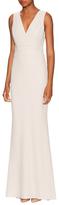 Badgley Mischka Foil Crepe Pleated Column Dress