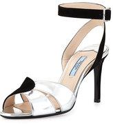 Prada Suede and Metallic Ankle-Wrap Sandal