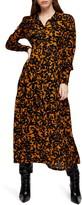 Topshop Floral Print Long Sleeve Maxi Shirtdress